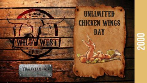 Unlimited chicken wings day at Wild West